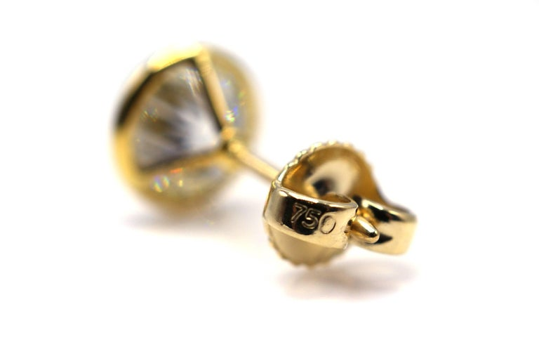 Old European Cut Diamond Gold Stud Earrings In As new Condition For Sale In New York, NY