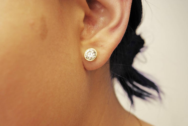 Women's or Men's Old European Cut Diamond Gold Stud Earrings For Sale
