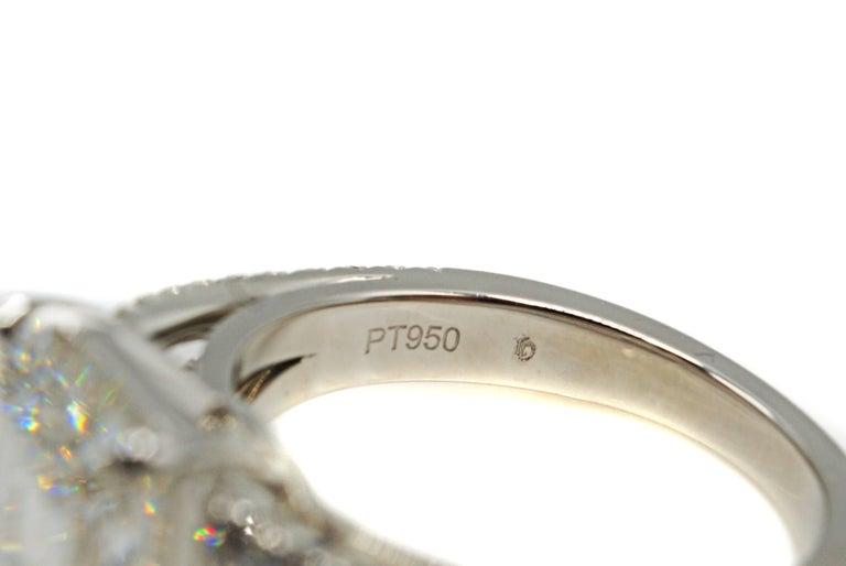 4.15 Carat GIA G VVS1 Emerald Cut Diamond Platinum Split Shank Engagement Ring For Sale 1