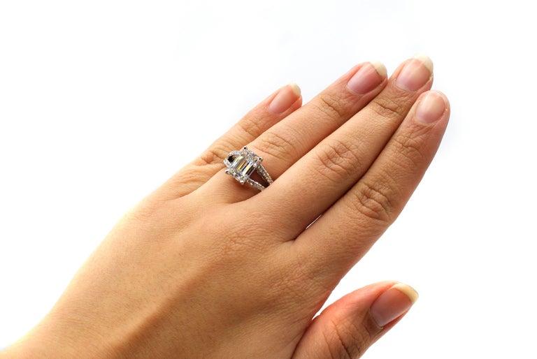 Women's or Men's 4.15 Carat GIA G VVS1 Emerald Cut Diamond Platinum Split Shank Engagement Ring For Sale