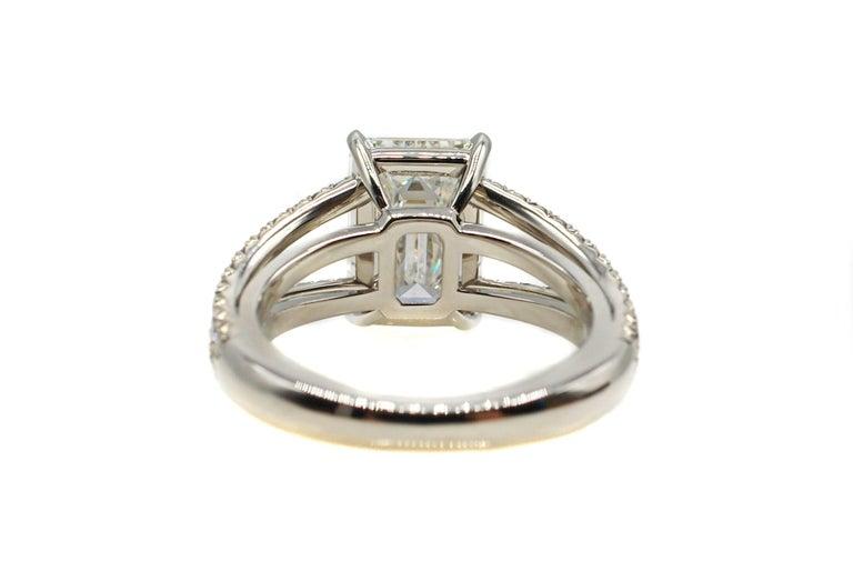 Contemporary 4.15 Carat GIA G VVS1 Emerald Cut Diamond Platinum Split Shank Engagement Ring For Sale