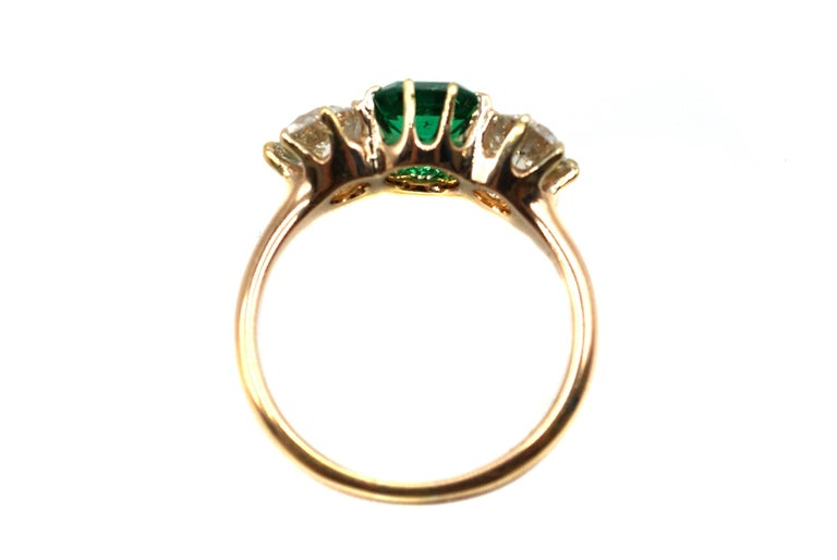 Belle Époque Bailey Banks & Biddle 1.18 Carat Colombian Emerald Diamond Ring In Excellent Condition For Sale In New York, NY