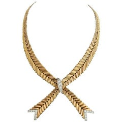 Retro French Diamond Platinum 18 Karat Gold Necklace
