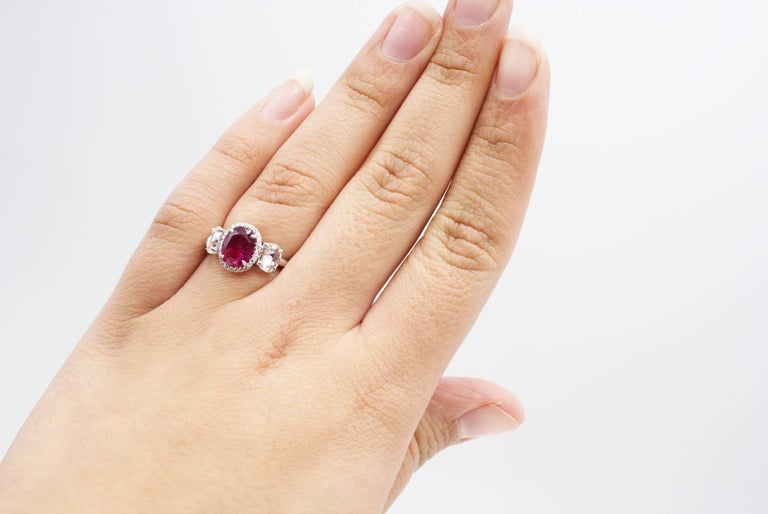2.73 Carat SSEF Certified Burma Ruby Rose Cut Diamond Platinum Ring In As New Condition For Sale In New York, NY