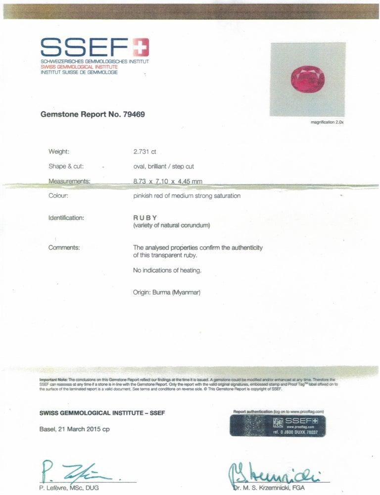 Women's or Men's 2.73 Carat SSEF Certified Burma Ruby Rose Cut Diamond Platinum Ring For Sale
