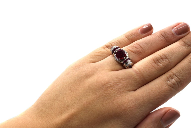 Rare Art Moderne 2.09 Carat Burma No Heat Natural Ruby Platinum Diamond Ring For Sale 2