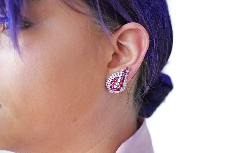 Gübelin Ruby Diamond Platinum Earrings For Sale 1