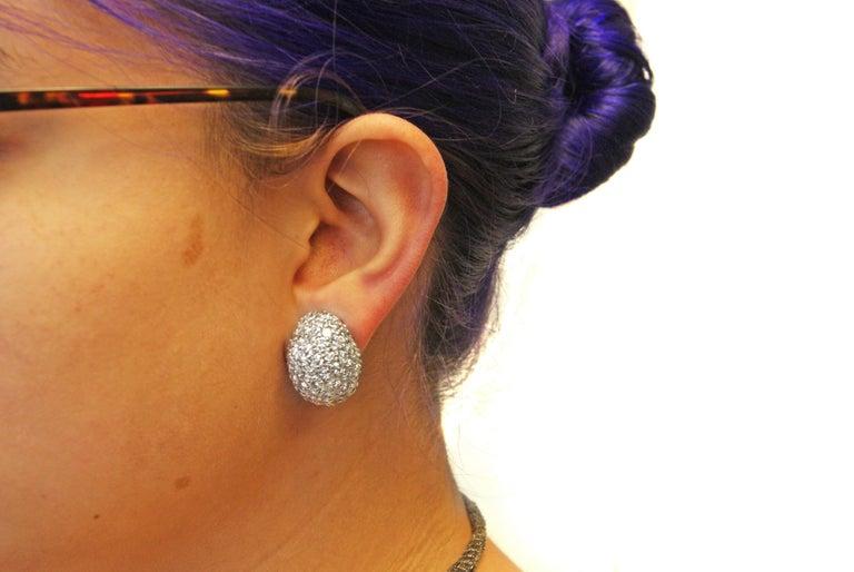 Women's or Men's 1960s Fine Diamond Platinum Bombe Ear Clips For Sale