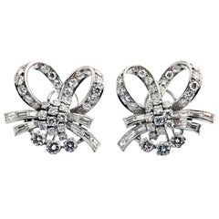 1960s Diamond Platinum Ribbon Earclips