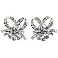 1960s Diamond Platinum Ribbon Earclips