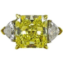 6.61 Carat Natural Fancy Intense Yellow Radiant Cut Diamond Gold Platinum Ring