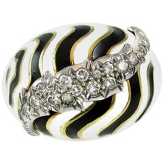 David Webb Diamond Platinum Bombe Zebra Ring