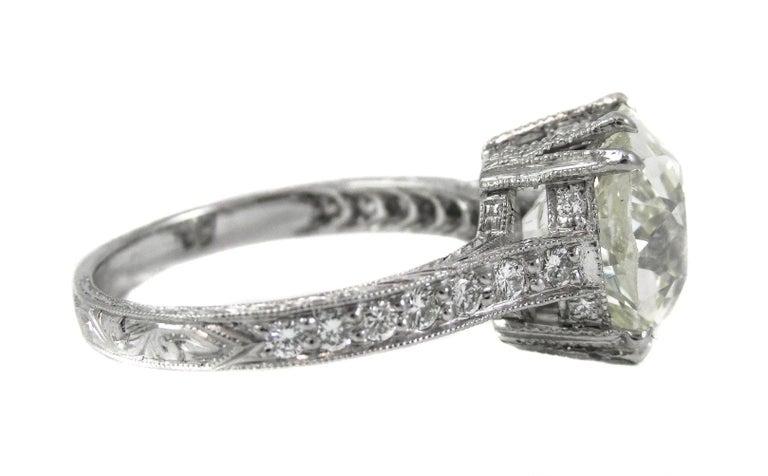 Cushion Cut 4.47 Carat Antique Cushion Diamond Platinum Engagement Ring For Sale