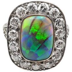 Edwardian Opal Diamond Platinum Ring