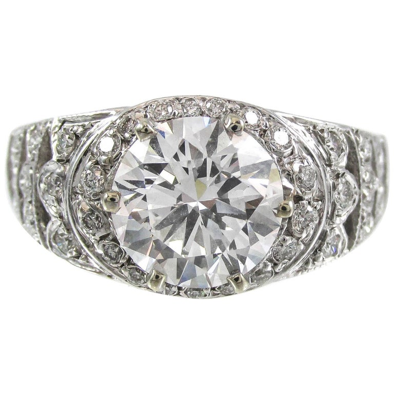 1.98 Carat Round GIA Certified Brilliant Diamond Gold Ring For Sale