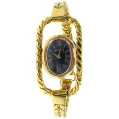 Gucci Ladies Yellow Gold Lapis Bracelet Mechanical Wristwatch