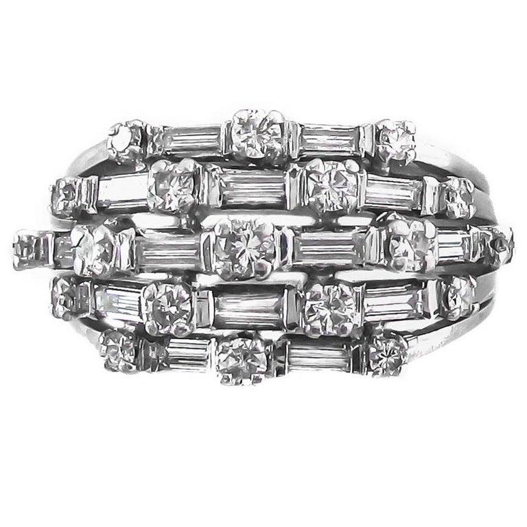 1950s Diamond Platinum Ring For Sale