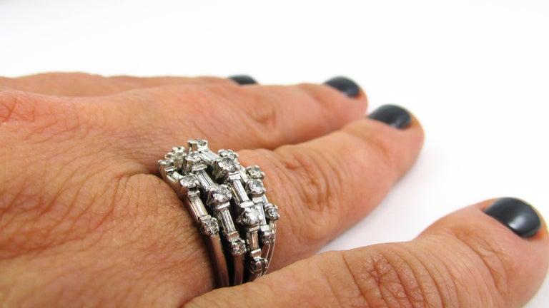 1950s Diamond Platinum Ring For Sale 3