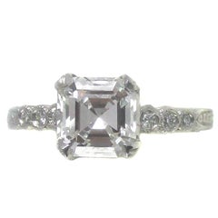 2.01 Carat F VS1 GIA Certified Asscher Cut Diamond Platinum Engagement Ring