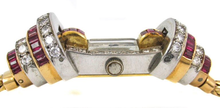 Ladies Platinum Yellow Gold Diamond Ruby Retro Wristwatch In Excellent Condition For Sale In New York, NY