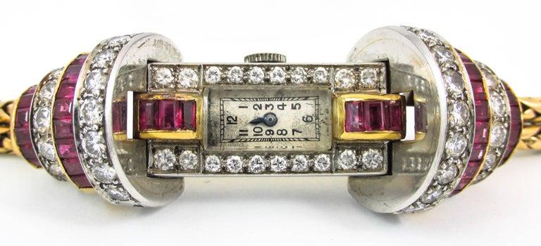 Women's or Men's Ladies Platinum Yellow Gold Diamond Ruby Retro Wristwatch For Sale