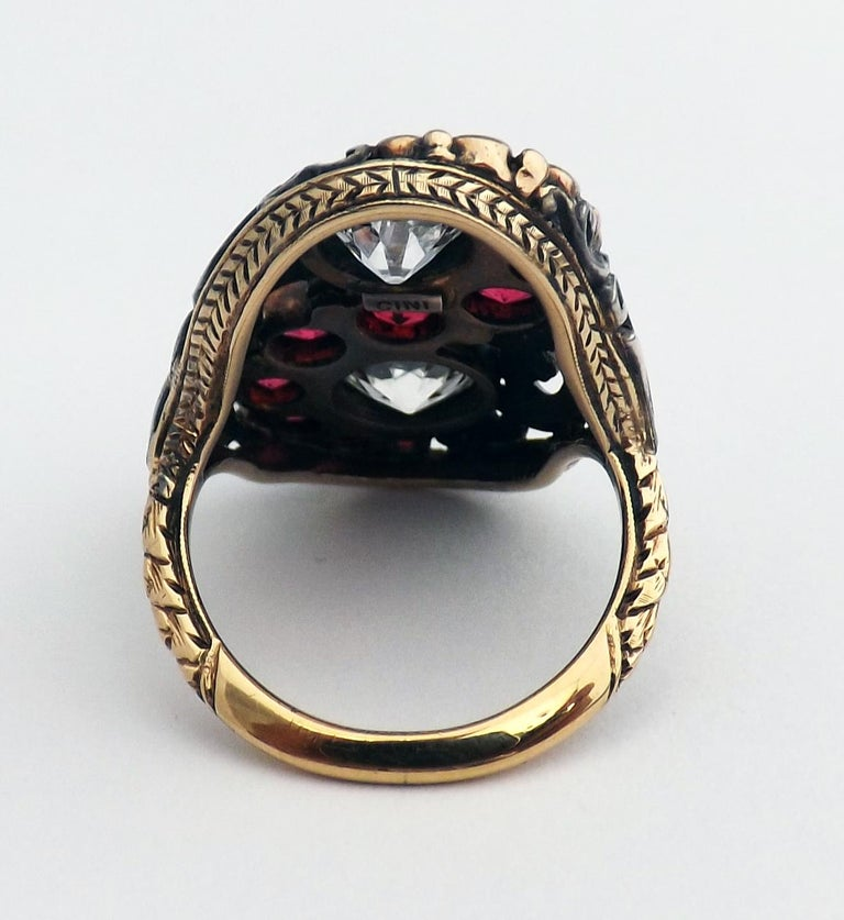 Art Deco Red Spinel Old European Cut Diamond Silver Gold Ring Signed CINI In Excellent Condition For Sale In New York, NY