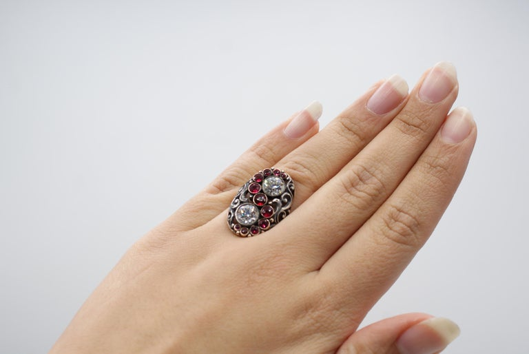 Art Deco Red Spinel Old European Cut Diamond Silver Gold Ring Signed CINI For Sale 1