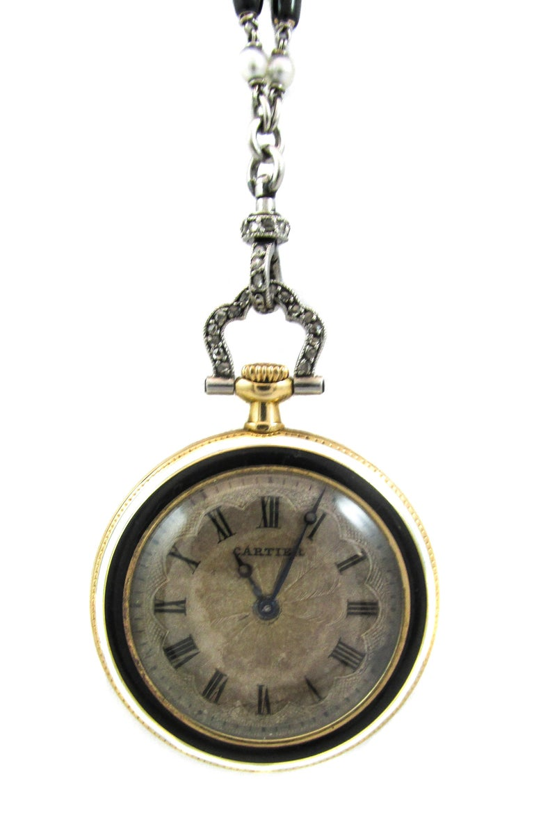 Cartier Platinum Yellow Gold Diamond Black Enamel Pendant Watch Necklace In Good Condition For Sale In New York, NY
