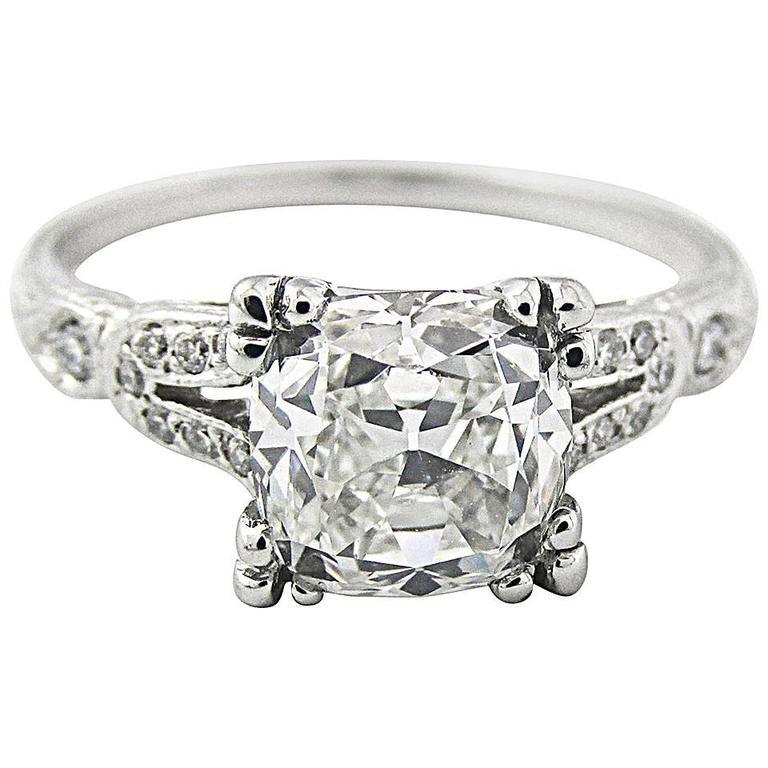 GIA Certified 2.01 Carat Cushion Brilliant Diamond Platinum Ring