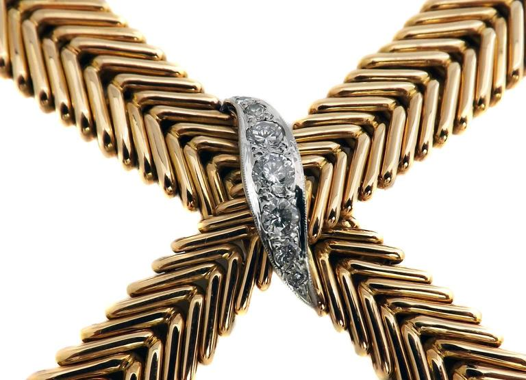 Retro 1950s French Diamond Gold Crossover Flexible Necklace For Sale