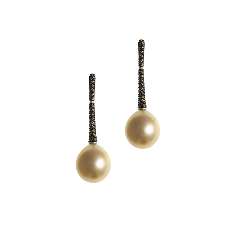 Lust Pearls 0.55 Carat Cognac Diamond Golden South Sea Pearl Pendant Earring Set In New Condition For Sale In Broome, Western Australia