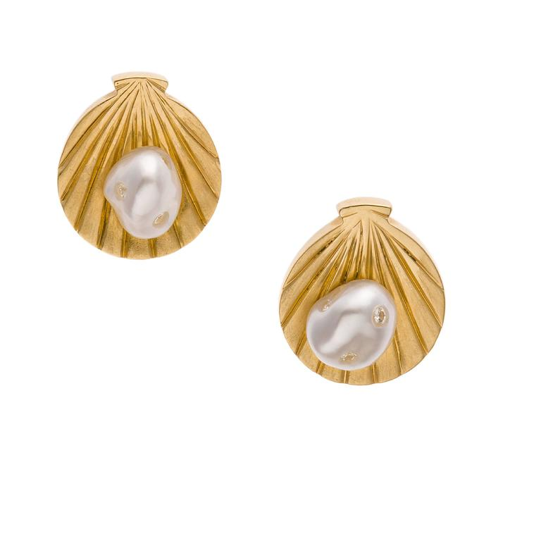 Modern  Gold Shell White Keshi South Sea Pearls White Diamonds Studs Earrings For Sale