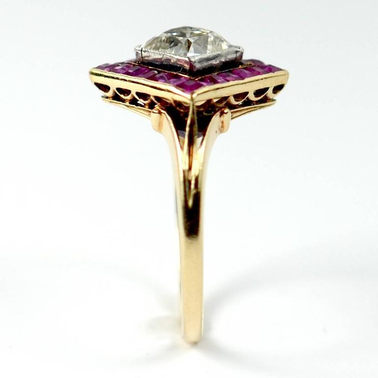 Edwardian 1.20 Carat Diamond Ruby Ring For Sale 2
