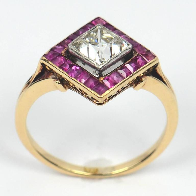 Edwardian 1.20 Carat Diamond Ruby Ring In Good Condition For Sale In London, GB