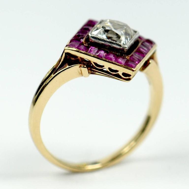 Women's Edwardian 1.20 Carat Diamond Ruby Ring For Sale