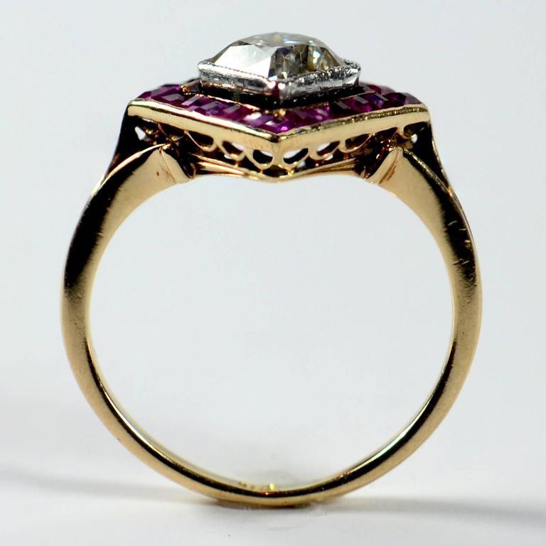 Edwardian 1.20 Carat Diamond Ruby Ring For Sale 1