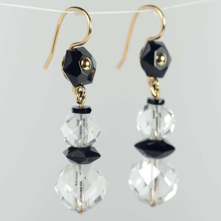 Women's Art Deco Onyx Rock Crystal Gold Drop Earrings, circa 1920 For Sale