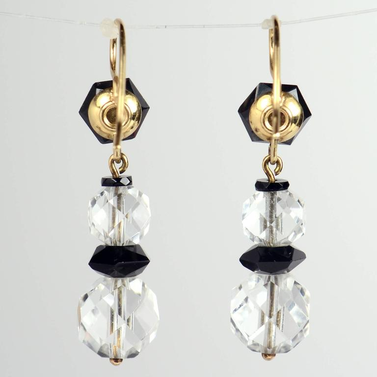 Art Deco Onyx Rock Crystal Gold Drop Earrings, circa 1920 For Sale 4