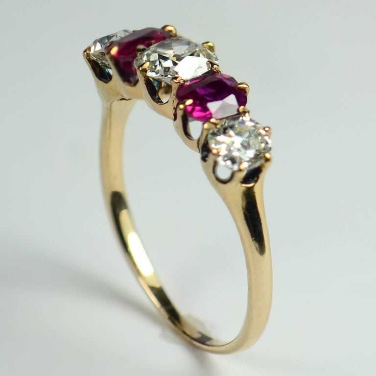 Women's Edwardian Burmese Red Ruby White Diamond Five-Stone Engagement Ring For Sale