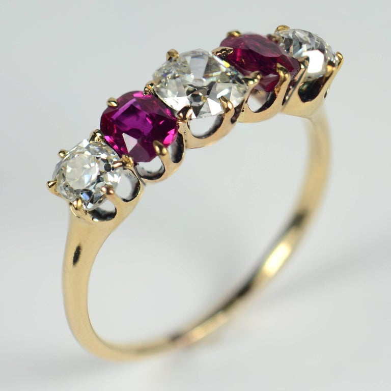 Edwardian Burmese Red Ruby White Diamond Five-Stone Engagement Ring In Good Condition For Sale In London, GB