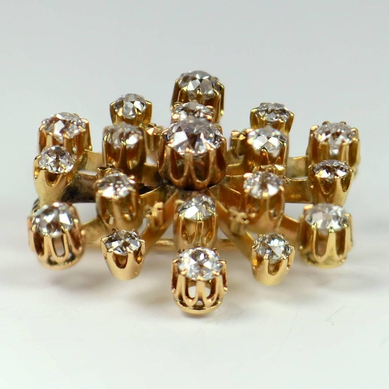 Victorian Bailey, Banks and Biddle Diamond Gold Snowflake Brooch Pendant For Sale