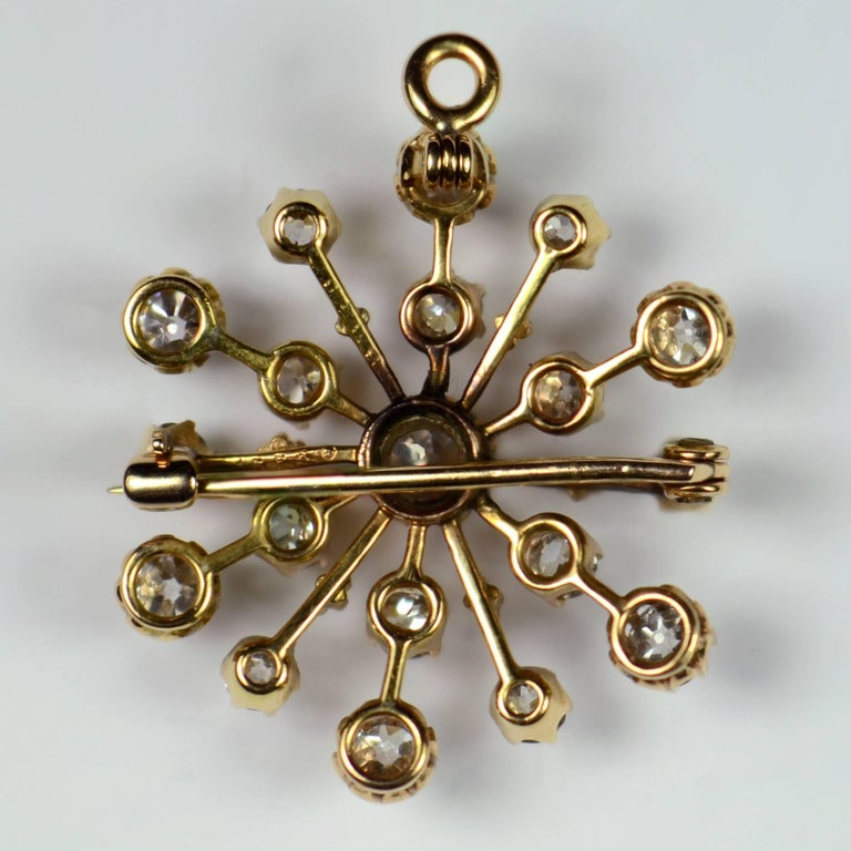 Old Mine Cut Bailey, Banks and Biddle Diamond Gold Snowflake Brooch Pendant For Sale