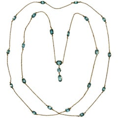Blue Zircon Gold Long Chain Necklace, circa 1920