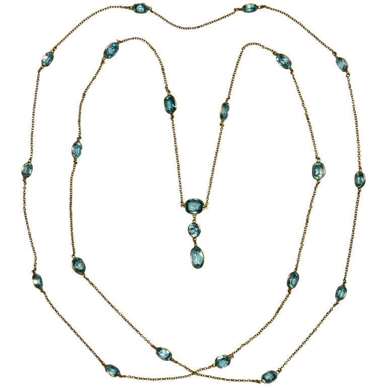 Blue Zircon Gold Long Chain Necklace, circa 1920 For Sale
