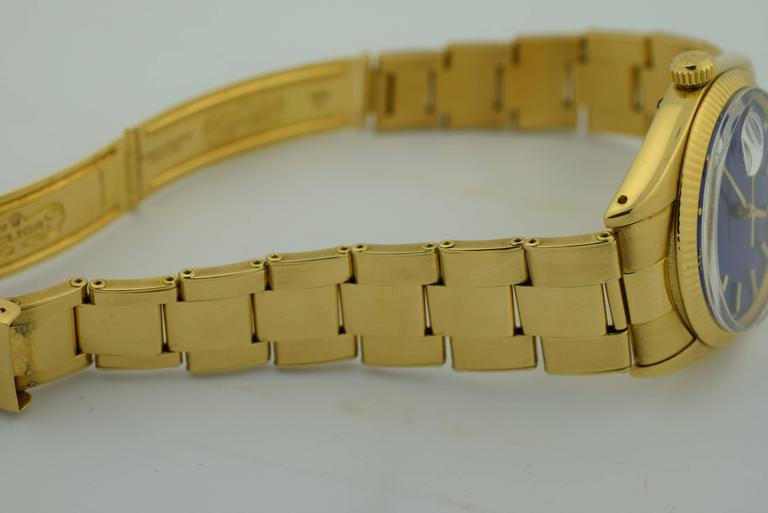 Rolex Yellow Gold Blue Dial Automatic Wristwatch Ref 1503 ...