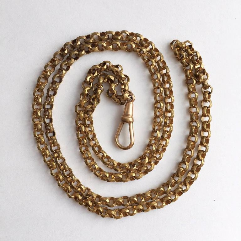 Long Guard Chain With Faceted Gilt Brass Links Edwardian