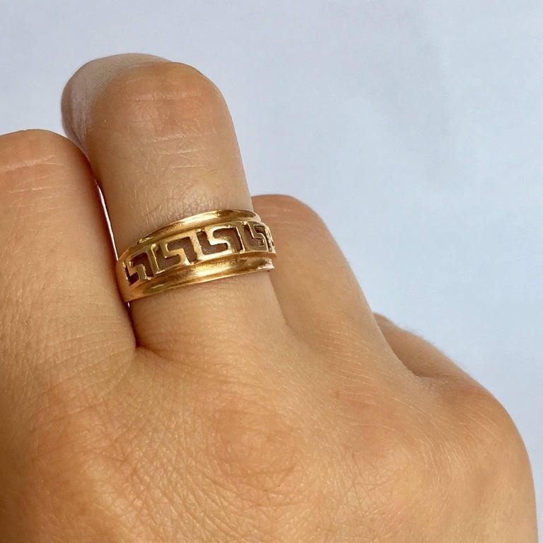 14 Carat Gold Geometric Greek Key Band Vintage Sculptural