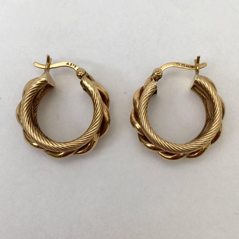 Gold Hoop Earrings Twisted Rope Braided Nautical Vintage Chunky