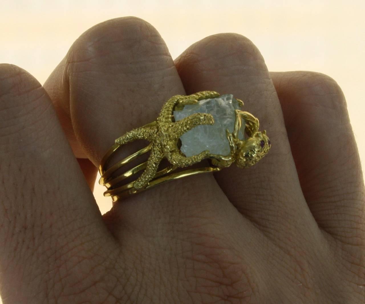 Whimsical Aquamarine Gold Ring 5