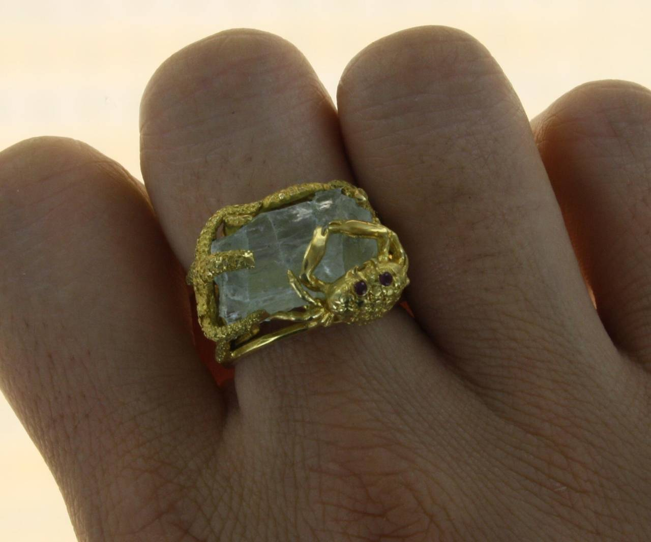 Whimsical Aquamarine Gold Ring 6